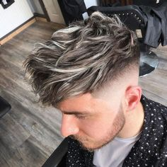 Long Blonde Highlights Men - Best Blonde Hairstyles For Men: Hot Blonde Hair Guys with Cool Haircuts and Styles Dyed Hair Men, Men Blonde Hair, Platinum Blonde Hair Men, Blonde Guys, Blonde Highlights On Dark Hair, Blonde Highlights For Men, Gents Hair Style, Mens Hair Colour, Blonde Haircuts