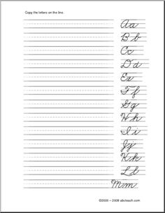 Slideshow: Cursive Handwriting Practice Worksheets (A-Z) | For ...