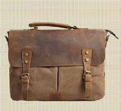 Khaki Genuine Leather canvas cross- body bag   / Briefcase / leather Messenger bag /leather   Laptop bag / Men's leather satchel(m1807-2) from sean vintage handmade bags