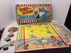 "Bozo The Clown ""Circus Game"" / Circa Circus Game, Bozo The Clown, Vintage Board Games, Pinball, 1960s, Cards, Ebay, Sixties Fashion, Maps"
