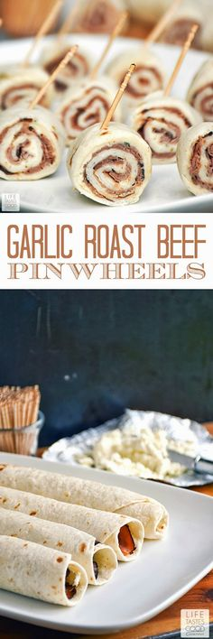 Garlic Roast Beef Pinwheels 6 soft taco sized flour tortillas ounce package of Garlic soft spreadable cheese pound slices) deli roast beef, sliced thinly (I prefer bottom round roast beef for flavor, and we like it very rare) toothpicks Pinwheel Appetizers, Pinwheel Recipes, Appetizers For A Crowd, Finger Food Appetizers, Yummy Appetizers, Roast Beef Appetizers, Pinwheel Sandwiches, Italian Appetizers, Party Appetizers