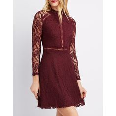 71733a339de1df Charlotte Russe Floral Lace Skater Dress ( 25) ❤ liked on Polyvore  featuring dresses