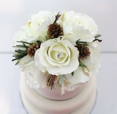 Winter Wedding Cake Topper  White Rose Pine Cone by ItTopsTheCake