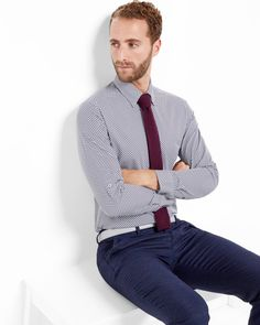 Geo print cotton shirt by Ted Baker Office Prints, Gents Fashion, Designer Clothes For Men, British Style, Printed Cotton, Ted Baker, Trousers, Men Sweater, Navy Shirts