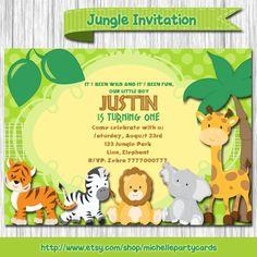 Jungle Birthday Invitation-Safari birthday by michellepartycards