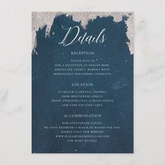Starry Night Wedding Information Card, Celestial Wedding Details Card, Galaxy Wedding Information Card, Constellation Wedding Details Card, Navy Blue Silver Wedding Details Card, Winter Wedding Details Card, Astronomy Space Cosmos Wedding Details Reception Accommodation Card by Soumya's Invitations #wedding #weddinginspiration #bride #bridetobe