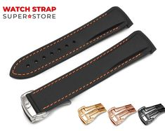 For OMEGA Black Orange Watch Silicone Rubber Strap Band with Deployment Clasp Silver Black Omega Seamaster Chronometer, Omega Seamaster Gold, Omega Seamaster Planet Ocean, Tag Heuer Carrera Calibre, Omega Watch, Etsy, Silicone Rubber, Watches, Leather