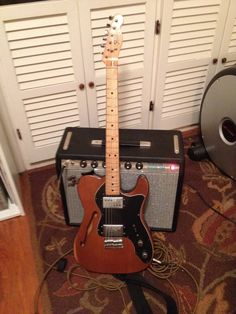 My buddy John's all-original 1972 Tele Thinline with Fender Wide Range humbuckers, and his recently-re-cabbed and lovingly-repaired-by-Chris-Davis 1968 Fender Princeton Reverb amp. Zowie. This is an insane combo.  I had the amp right after it was fixed but before it was recabbed, and played a gig with it. Oh, was I spoiled. Also of note is the rare mocha brown finish. There aren't that many of these guitars to start with, and mocha brown is the least common finish...