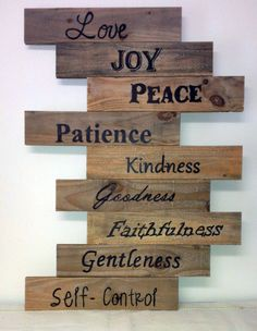 Fruits of the Spirit Reclaimed Pallet Wood Sign (Love Joy Peace Patience Kindness Goodness Faithfulness Gentleness Self Control) - Can Customize