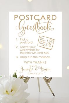 Postcard Guestbook Sign Various Sizes by CharmingEndeavours Wedding Signs, Wedding Bells, Wedding Stuff, Postcard Guestbook, Wedding Planner, Destination Wedding, Maui Weddings, Guest Book Sign, Travel Themes
