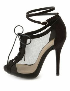 Vegan Suede & Mesh Lace-Up Heels: Charlotte Russe