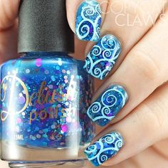 Stamping nail art. @delushpolish Mermaid For Each Other stamped with DP03. Don't the swirls from this plate go great with the circle glitter in this polish?