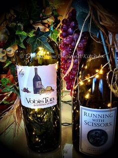 Decorated Lighted Wine Bottles #wine  http://frugalnewenglandkitchen.com/decorated-lighted-wine-bottles-how-to-diy-craft-wine-bottles-pinterest