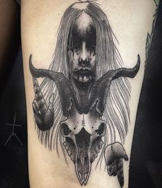 XCJX Dope Tattoos, Dark Mark Tattoos, Leg Tattoos, Body Art Tattoos, Horror Tattoos, Satanic Tattoos, Satanic Art, Tattoo Goat, Witchcraft Tattoos