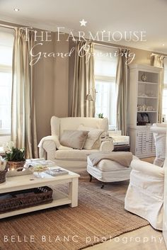Love this all white furnisher/accessories then taupe or beige walls maybe some soft gold curtain with bamboo flooring rugs - A Interior Design Living Room Inspiration, Home Decor Inspiration, Home Living Room, Living Spaces, Living Area, Sweet Home, Beige Walls, Cozy House, Cozy Cottage
