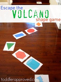 Escape the volcano shape game. A fun way to learn about shape, colors, and numbers. Do you have any other favorite volcano activities you love? Volcano Activities, Gross Motor Activities, Preschool Activities, Gross Motor Skills, Preschool Shape Activities, Kid Activites, Preschool Colors, Educational Activities, Volcano Game