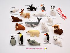 ARCTIC ANIMALS magnets Special edition -  Price per 1 item - orca,emperor penguin,seal,walrus,whale polar bear polar fox,arctic hare,beluga