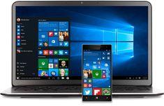 Windows 10 のスタート メニューが表示されたノート PC と Windows Phone