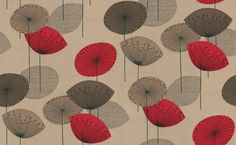 Dandelion Clocks (DOPWDA101) - Sanderson Wallpapers - A fun and funky retro 50's design with stylised dandelion flowers in bold colour combinations. Available in 4 colours – shown in shades of brown with red highlights. Please ask for a sample for true colour match.