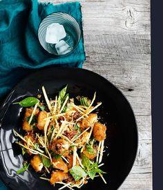 Crisp fish, green mango and roast coconut salad - Gourmet Traveller