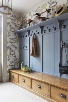 Painted and timber traditional period boot room designed for an English country house utility room. Visit our website for more images of this bespoke project.Painted and timber traditional period boot room designed for an English country .Painted a Boot Room Utility, Utility Room Storage, Hall Storage Ideas, Boot Room Storage, Hallway Coat Storage, Shoe Storage Living Room, Cloakroom Storage, Hallway Shoe Storage Bench, Coat And Shoe Storage