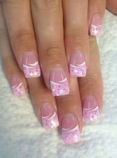 Pretty in Pink nails! – Lana Maximini Pretty in Pink nails! Pretty in Pink nails! Pink Nail Art, Cute Acrylic Nails, Pink Nails, Glitter Nails, Sparkle Nails, Nail Tip Designs, French Nail Designs, Fingernail Designs, Art Designs