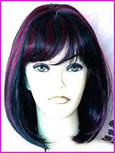 Forever Young Ladies Wig Classy Medium Bob with Central Parting & Full Fringe Burgundy and Black Mix