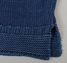 Cotton Guernsey Sweater, Indigo w/ Orange Pocket