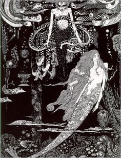 """brudesworld: """"'I know what you want,' said the Sea Witch.""""The Little Sea Maid (The Little Mermaid) illustration by Harry Clarke from The Fairy Tales of Hans Christian Andersen, 1916 Art And Illustration, Mermaid Illustration, Book Illustrations, Harry Clarke, Art Nouveau, Andersen's Fairy Tales, Drawn Art, Sea Witch, Mermaids And Mermen"""