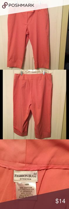 Peach stretch cropped pants Pair wide waist band ,cropped pants, 2 button , zip closure, has stretch to them, 62% cotton, 35% polyester, 3% spandex.    Size: 18 W.        by: Fashion Bug Fashion Bug Pants Ankle & Cropped