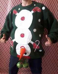 tacky Christmas party next year! Naughty Ugly Christmas Party Holiday Sweater Mens Tacky L XL Snowman Winner Tacky Christmas Sweater, Ugly Xmas Sweater, Winter Christmas, Christmas Crafts, Funny Christmas, Xmas Sweaters, Naughty Christmas, Christmas Pictures, Funny Xmas