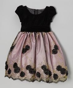Black & Pink Velvet Flower Dress - Infant, Toddler & Girls | Daily deals for moms, babies and kids