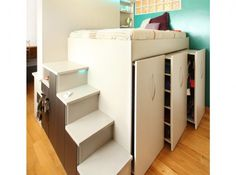 Platform bed, wardrobe below