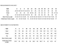 Mccalls Sewing Pattern Size Chart