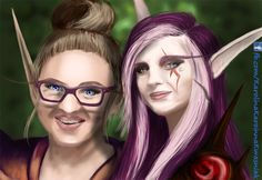 "About drawing: that's an official version of (modified) self-portrait called ""Karoinna"" - birthday gift for my teacher, one of the closest from teaching. Master and student World Of Warcraft Game, My Teacher, My Arts, Art Exhibitions, Princess Zelda, Student, Deviantart, Portrait, Crosses"
