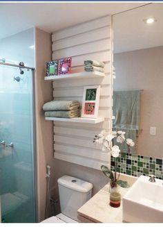 Floating shelves for the bathroom cupboard.