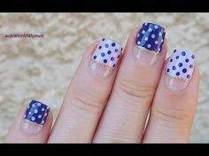 POLKA DOT NAIL ART #1 - Wide No Tape French Manicure in Purple - YouTube