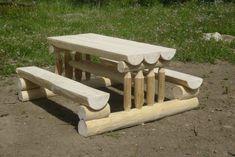 Cedar Log Furniture Plans Fresh Fantastic Log Picnic Table From Outdoor Furniture Plans, Log Furniture, Picnic Table Plans, Picnic Tables, Diy Bench Seat, Log Table, Cedar Log, Bench Plans, Woodworking Plans