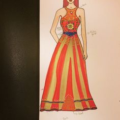 Red and gold stained glass anarkali. Featuring stain glass effect on the top with pee hole cut.