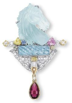❥ Aquamarine Brooch Mitsuo Kaji  Christie's~ love these colors