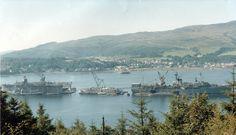 Site 1 Holy Loch Scotland,  USS Los Alamos AFDB-7 on the left, Photos - Google+