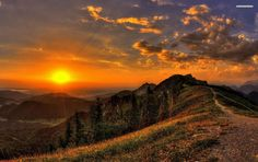 Golden Sunset Mountains Path wallpapers