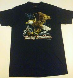 Harley Davidson 3D Emblem 1991 VTG size Large Maui Hawaii Motorcycle Eagle