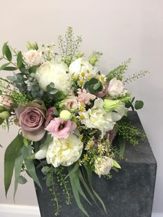 brides bouquet made from peony roses, amnesia roses, eustoma, lisianthus, daisy, eucalyptus, nikkidunlop, northern Ireland, flowers, pretty, loose style