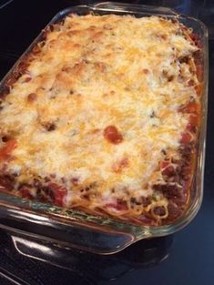 A Mexican/Italian dish rolled into one casserole! This is a simple recipe that is delicious and can easily be thrown together. Casserole Dishes, Casserole Recipes, Meat Recipes, Pasta Recipes, Mexican Food Recipes, Cooking Recipes, Spaghetti Recipes, Recipies, Yummy Recipes