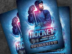 Hockey Match Flyer designed by Amir Tarommir. Hockey Posters, Flyers Hockey, Flyer Design, Event Design, Show And Tell, Ice Hockey, Competition, Banner, Graphic Design