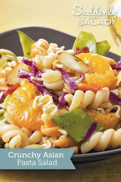 Add Asian inspiration to your pasta salad with veggies, fruit and a soy sauce dressing.