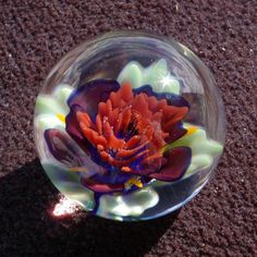 Lipstick Red Flower Art Glass Marble with Soft by RobberGlass, $45.00