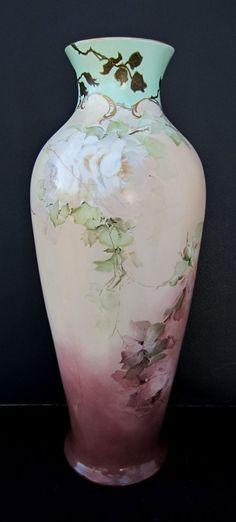"Hand Painted 17 ¼"" Roses Vase w/Light Aqua Trim from hjrantiques on Ruby Lane"