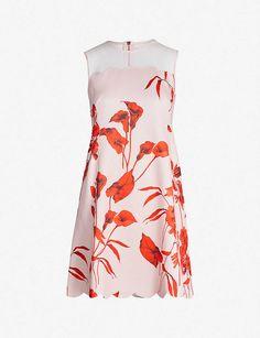 ed92a201 TED BAKER Fantasia-print scalloped mini dress